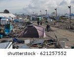 demolition of the jungle camp ...   Shutterstock . vector #621257552