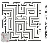 vector maze with answer 49 | Shutterstock .eps vector #621283202