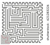 vector maze with answer 51 | Shutterstock .eps vector #621283226