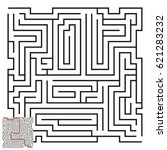 vector maze with answer 55 | Shutterstock .eps vector #621283232