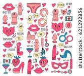 doodle humorous vector sextoys...   Shutterstock .eps vector #621292856