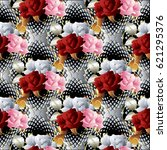 Floral 3d Roses Seamless...