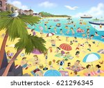 illustration of people on the...   Shutterstock . vector #621296345