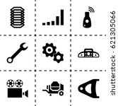 technology icon. set of 9... | Shutterstock .eps vector #621305066