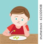picky young boy who is a fussy... | Shutterstock .eps vector #621320438