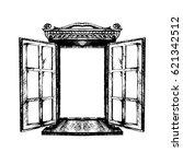 an open antique window. vector... | Shutterstock .eps vector #621342512