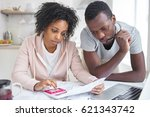 stressed african american... | Shutterstock . vector #621343742