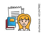 teacher with notebook pappers... | Shutterstock .eps vector #621347882