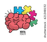 Stock vector mental health brain with puzzle tokens 621348152