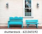 Two Light Blue Wooden Bench An...