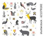 vector set of forest animals... | Shutterstock .eps vector #621378182