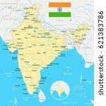 india map and flag   highly... | Shutterstock .eps vector #621383786