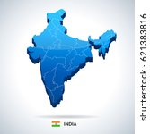 india map and flag   highly... | Shutterstock .eps vector #621383816