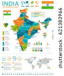 india infographic map and flag  ... | Shutterstock .eps vector #621383966