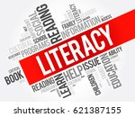 literacy word cloud collage ... | Shutterstock . vector #621387155