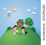 illustration of earth day child ... | Shutterstock .eps vector #621396182