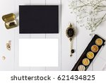 mockup with black envelope ... | Shutterstock . vector #621434825