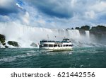 the boat with tourists eager to ... | Shutterstock . vector #621442556