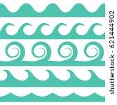 vector turquoise waves set on...   Shutterstock .eps vector #621444902