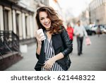 happy brunette woman smiling at ... | Shutterstock . vector #621448322