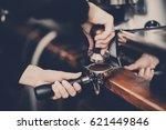 coffee making  pressing in... | Shutterstock . vector #621449846