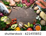 balanced diet food background.... | Shutterstock . vector #621455852