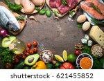 balanced diet food background.... | Shutterstock . vector #621455852