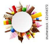 different sweet food round frame | Shutterstock . vector #621456572