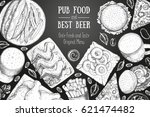 pub food frame vector... | Shutterstock .eps vector #621474482
