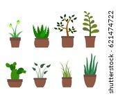 color set with house plants... | Shutterstock .eps vector #621474722