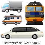 different vehicles on white... | Shutterstock .eps vector #621478082