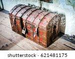treasure chest. ancient wooden...   Shutterstock . vector #621481175
