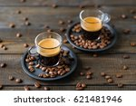 two cups of espresso and coffee ... | Shutterstock . vector #621481946