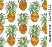 stylized colorful pineapple.... | Shutterstock .eps vector #621493826