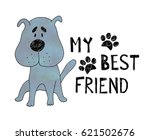 hand drawn cute dog with hand... | Shutterstock .eps vector #621502676