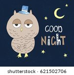 hand drawn owl in a hat with... | Shutterstock .eps vector #621502706