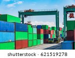 stacked containers waiting for... | Shutterstock . vector #621519278