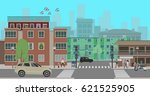 crossroads in the city street.... | Shutterstock .eps vector #621525905