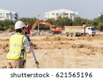 civil engineers at construction ... | Shutterstock . vector #621565196