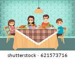 family having meal together ... | Shutterstock .eps vector #621573716