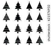 christmas tree set | Shutterstock .eps vector #621576932