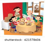 people taking meal in an old... | Shutterstock .eps vector #621578606