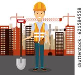 professional construction man... | Shutterstock .eps vector #621584558