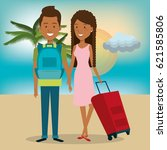 persons with suitcase travel | Shutterstock .eps vector #621585806