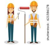 construction workers avatars... | Shutterstock .eps vector #621586178