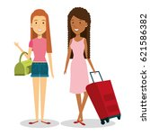 persons with suitcase travel | Shutterstock .eps vector #621586382