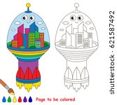 space city to be colored  the... | Shutterstock .eps vector #621587492