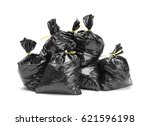 large group of full garbage... | Shutterstock . vector #621596198