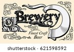 ornate vintage brewery... | Shutterstock .eps vector #621598592