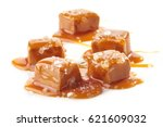 homemade salted caramel pieces... | Shutterstock . vector #621609032
